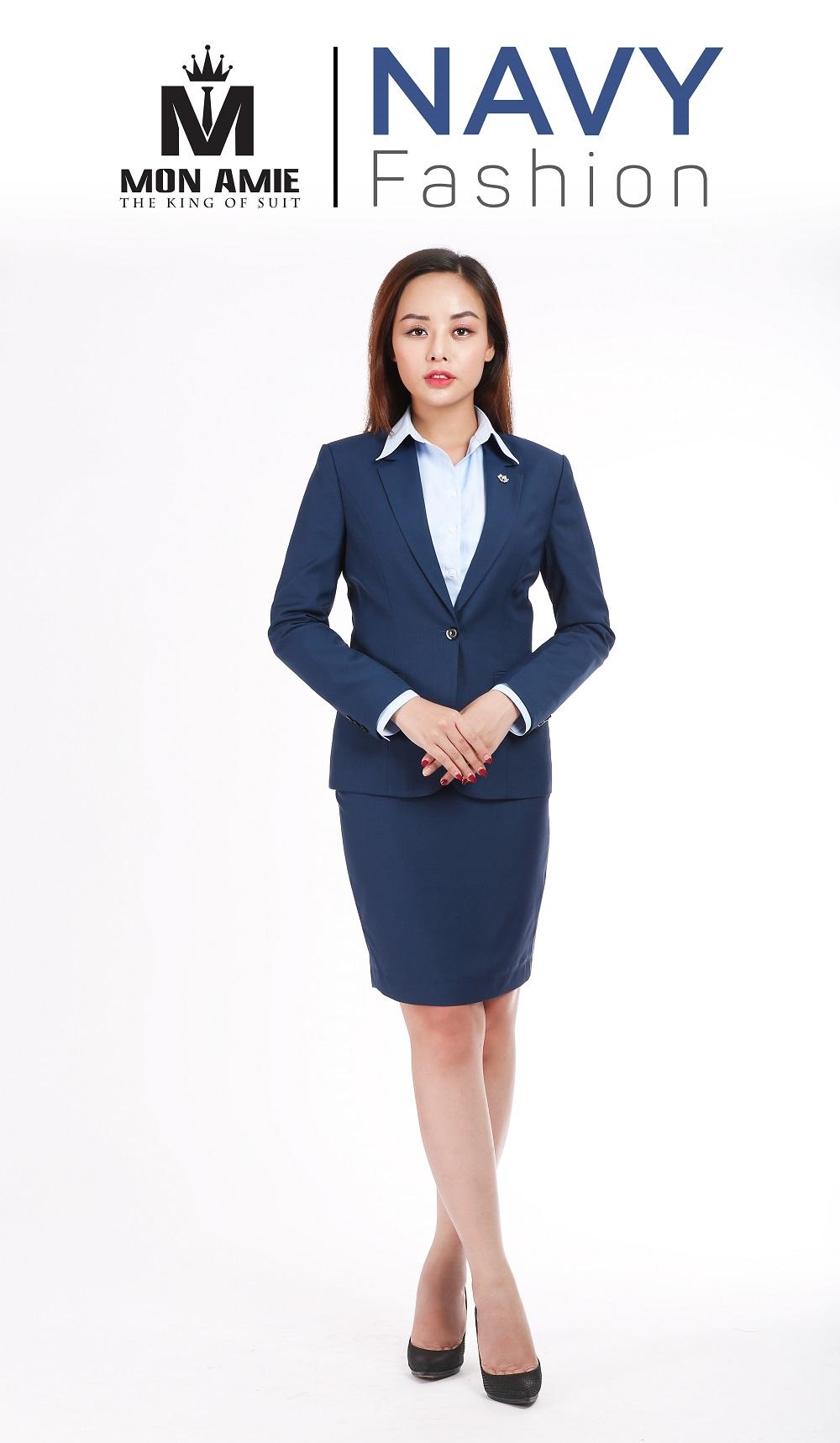 Bộ Vest Nữ Xanh Navy Trẻ Trung