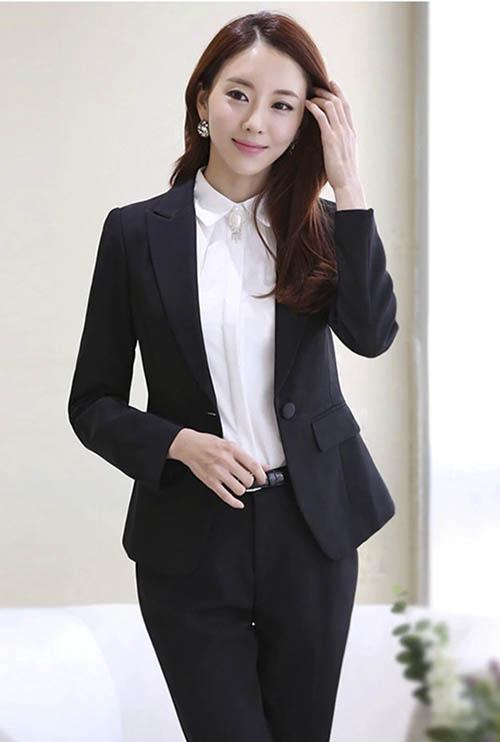 Bộ Vest Nữ Hàn Quốc Công Sở màu Đen 1 Nút