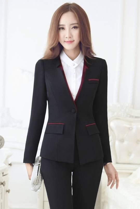 Bộ Vest Nữ Hàn Quốc Công Sở màu Đen Viền Đỏ