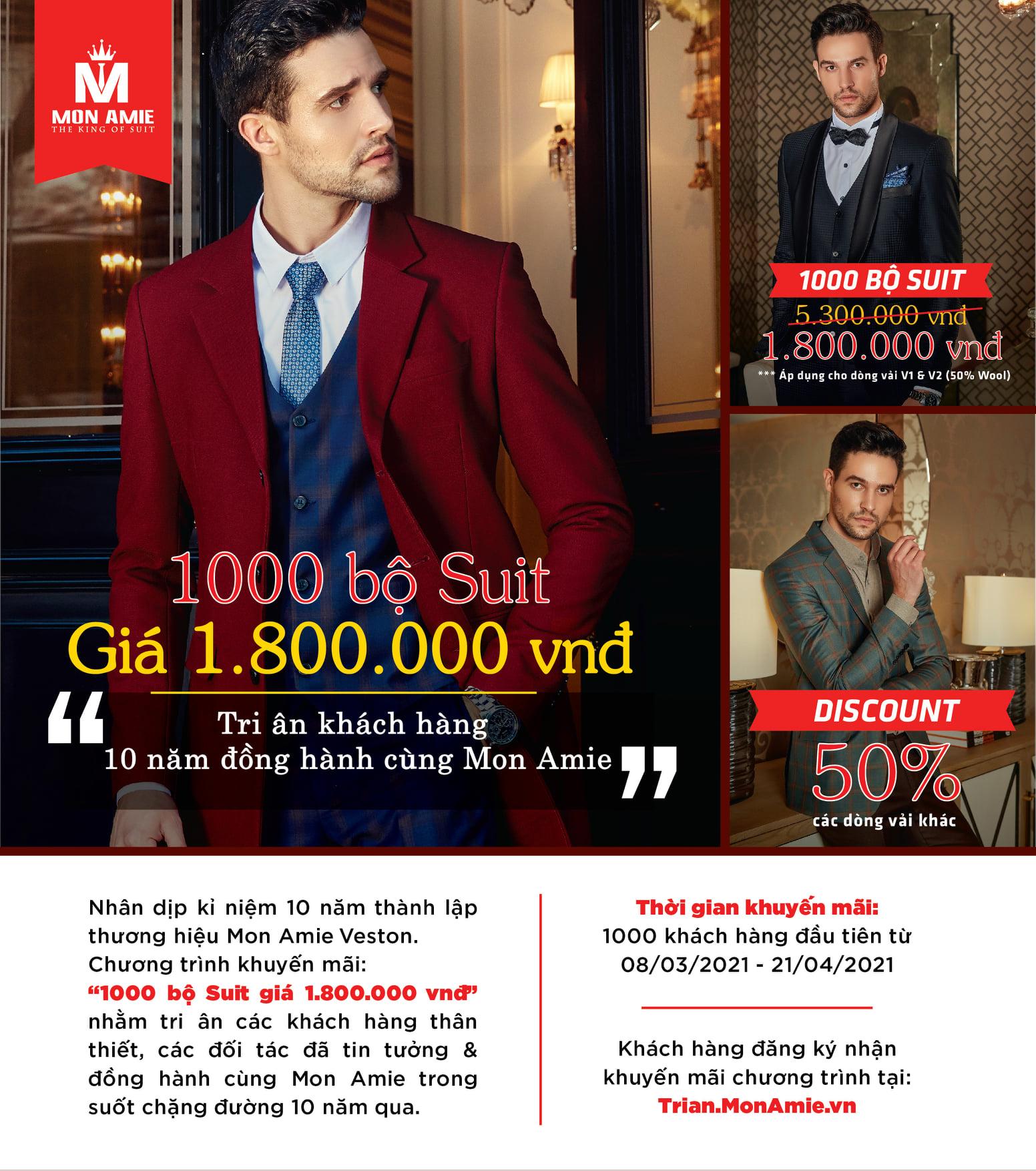 Đã có ⅓ trong tổng số 1.000 bộ suit giá 1.800.000 vnđ được khách hàng Mon Amie đặt may