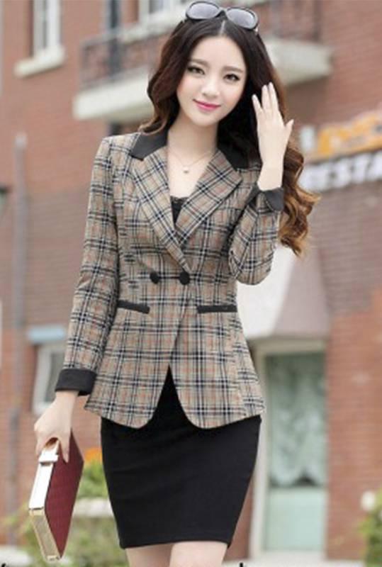 Bộ Vest Nữ Hàn Quốc Dạ Hội Nâu Ca Rô