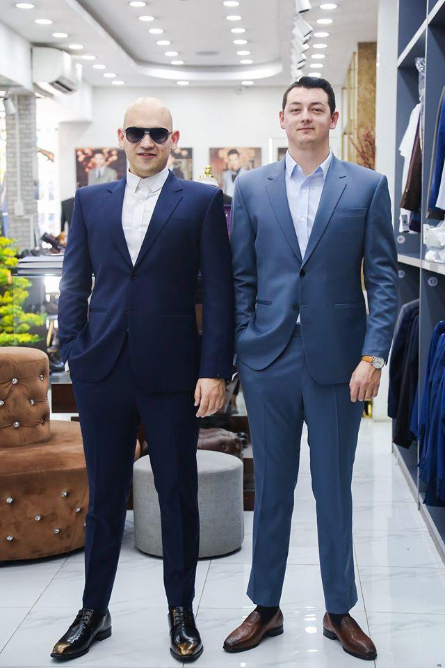 Suit Xanh Trơn Công Sở Ve Áo Nhọn