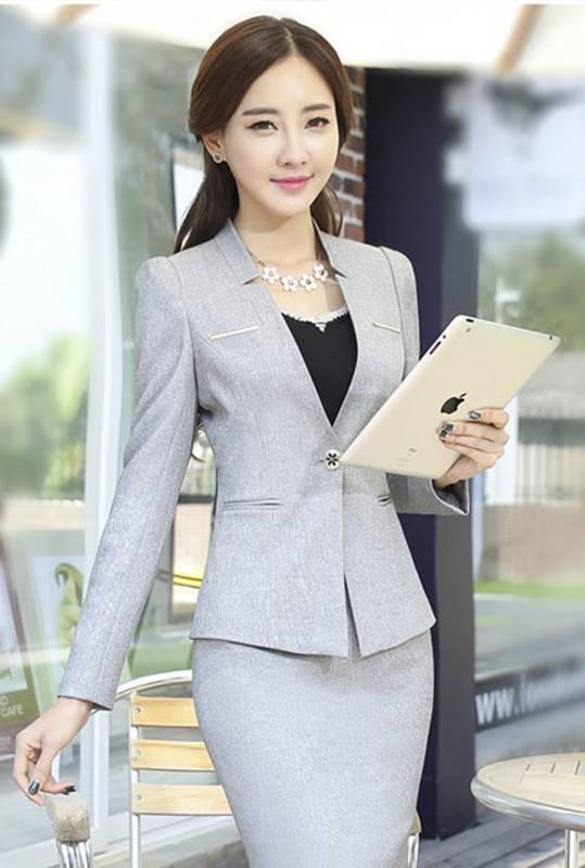 Comple Nữ Hàn Quốc Công Sở màu Xám