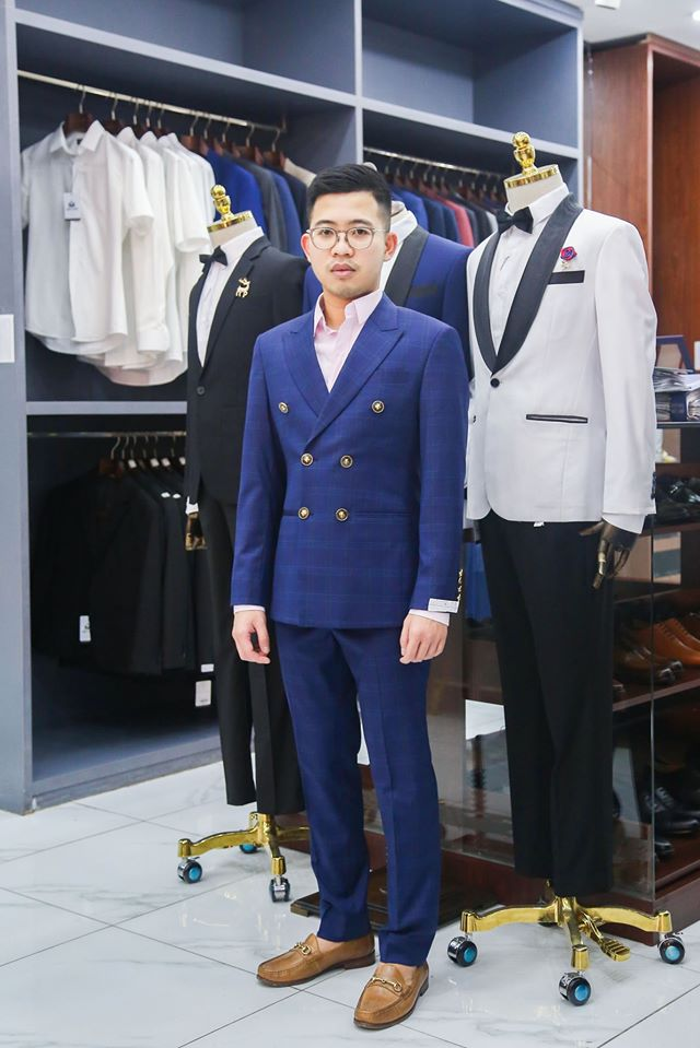 Bộ Suit Xanh 2 Hàng Khuy Sọc Caro