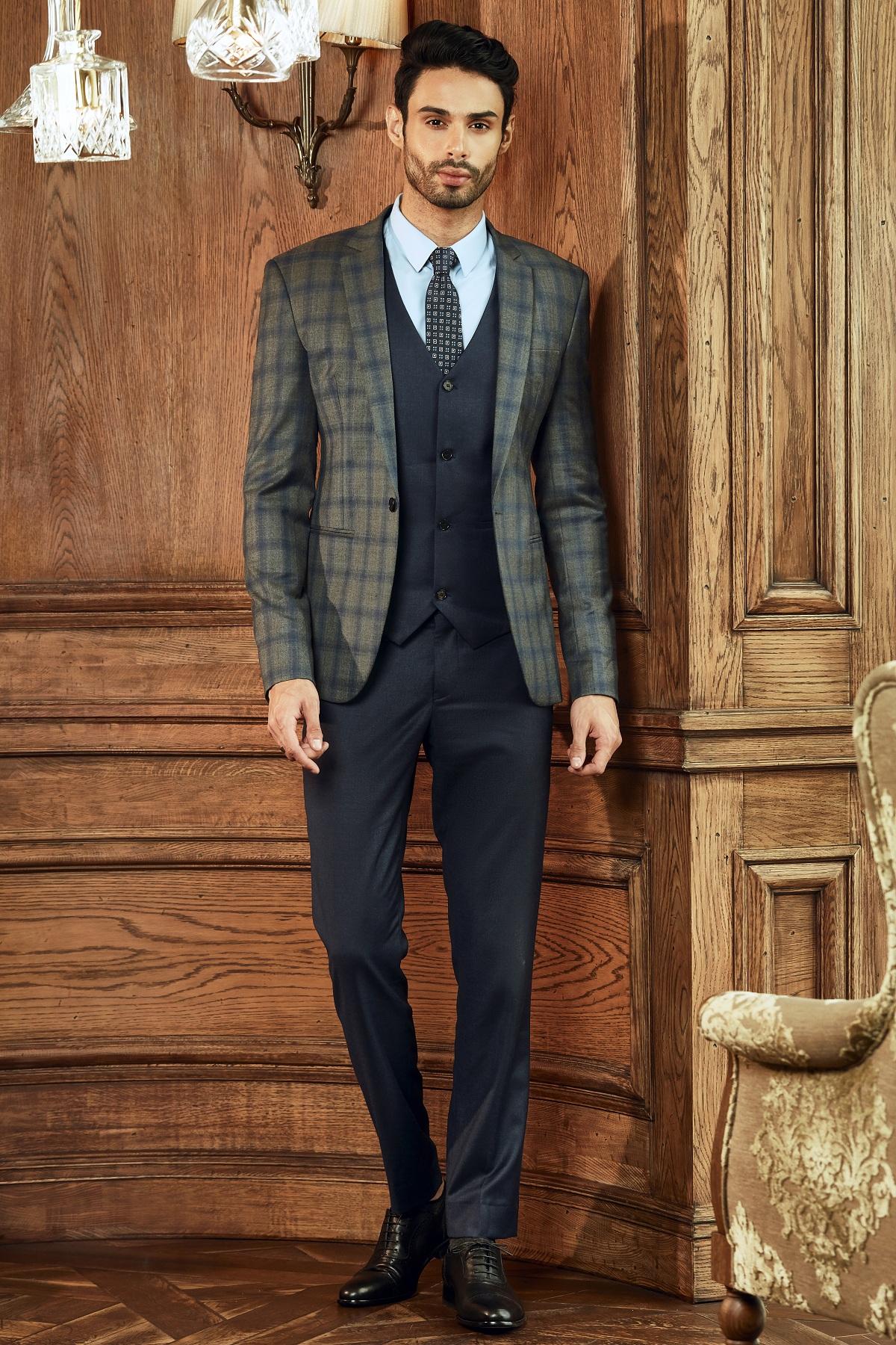 Bộ Suit Caro Xám Italia 160s
