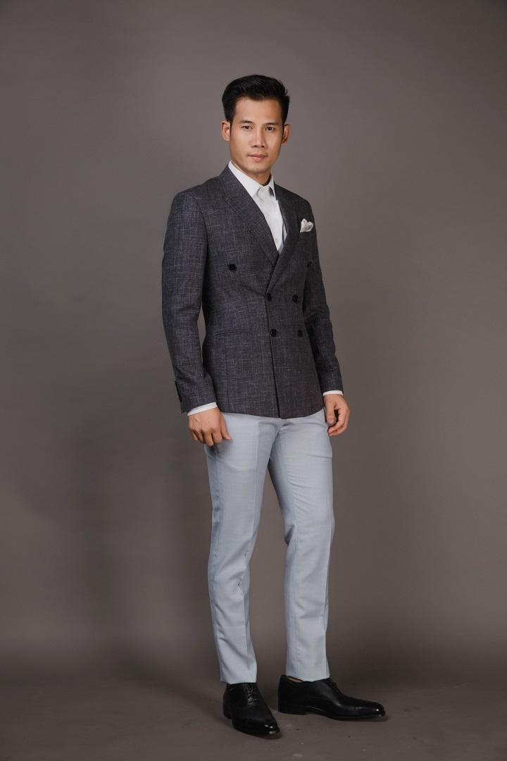 Áo Blazer Nam Xám Tro- Cổ Ve Ngược - 6 Nút Cài Chòm