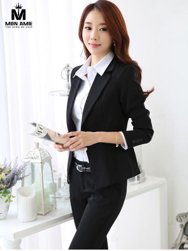 Bộ Vest Nữ Hàn Quốc Công Sở Đen Tay Lửng
