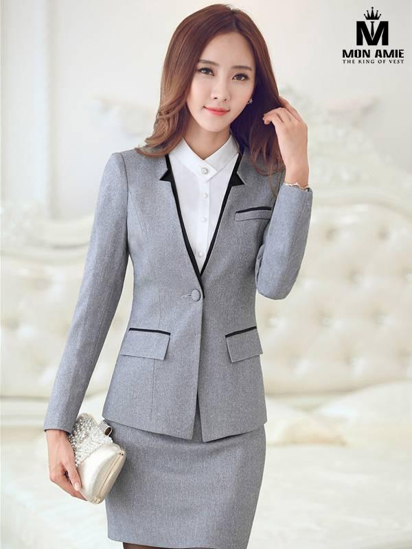 Bộ Vest Nữ Hàn Quốc Công Sở Xám Viền Đen