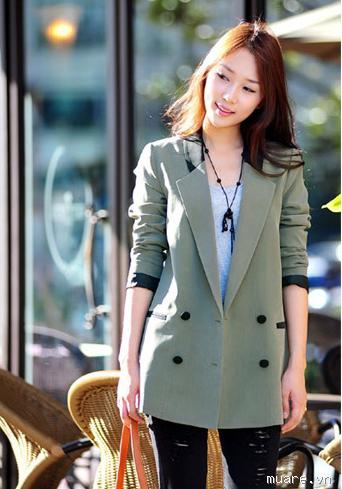 Bộ Vest Nữ Hàn Quốc Xanh lá Đậm Phá Cách