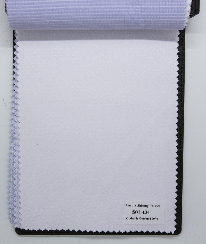 Mẫu vải may áo sơ mi trắng vân đẹp S01.434