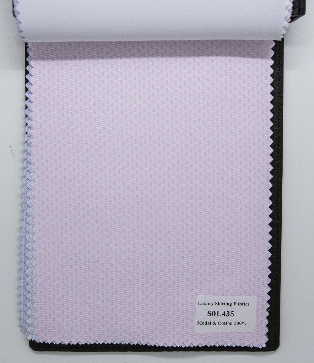 Mẫu vải may áo sơ mi hồng họa tiết đẹp S01.435