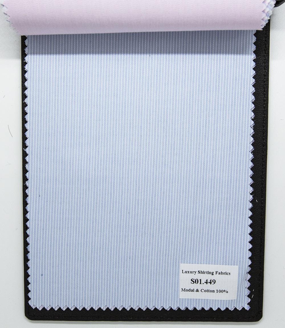 Mẫu vải may áo sơ mi xanh trung tính sọc dọc đẹp S01.449