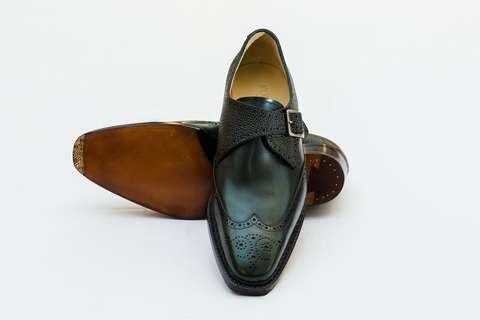 Giày Tây Nam Cao Cấp Italia Màu Xanh Rêu CH160317 Mon Amie
