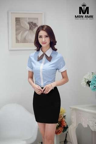 Áo Đồng Phục Sơ mi nữ tay ngắn xanh viền trắng SMN12