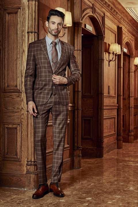 Bộ Suit Nam Italia Caro Nâu Super 160s