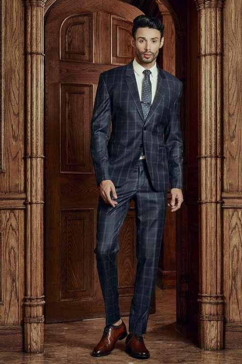 Bộ Suit Nam Caro Xanh Italia