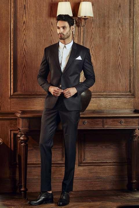 Bộ Suit Nam Doanh Nhân Sọc Đen Super 160s
