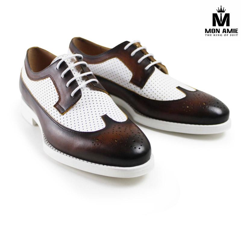 Giày Tây Nam Cao Cấp Màu Nâu Trắng Derby DB14002 Mon Amie