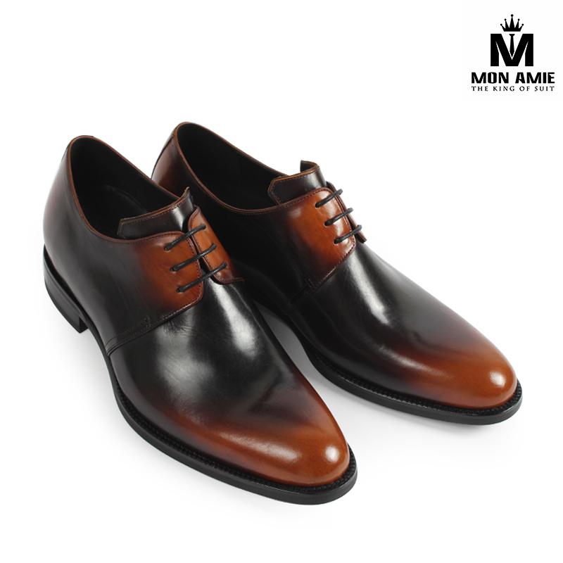Giày Tây Nam Màu Nâu Đen Derby 16D159001 Mon Amie