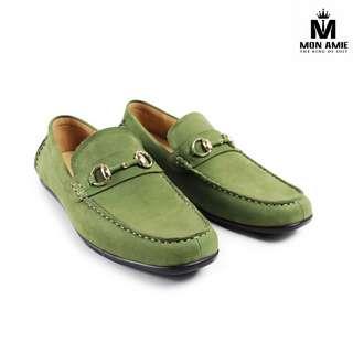 Giày Tây Nam Cao Cấp Italia Màu Xanh Chuối DD002 Green Mon Amie