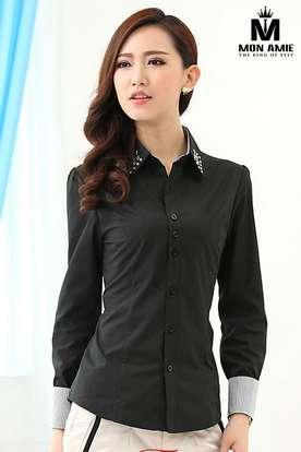 Áo Đồng phục sơ mi nữ đen SMN01