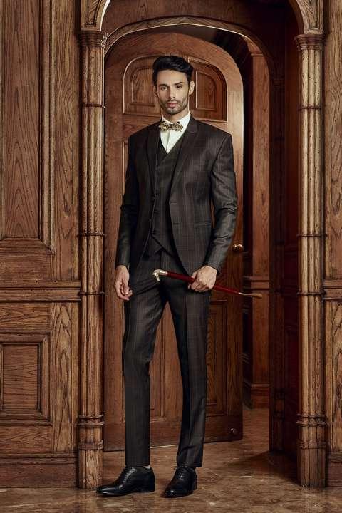 Bộ Suit Nam Caro Nâu Đen Super 160s