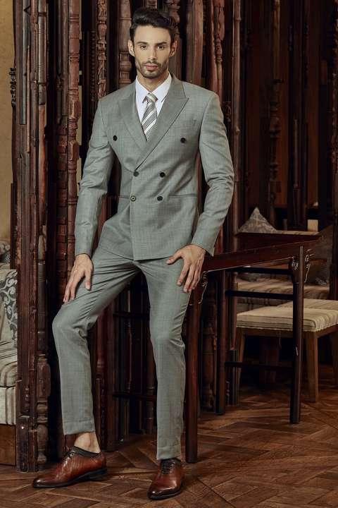 Bộ Suit Nam Italia Xám Super 160s