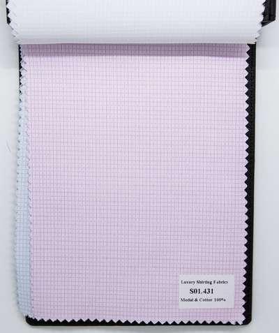Mẫu vải may áo sơ mi sọc ca rô hồng vân đẹp S01.431